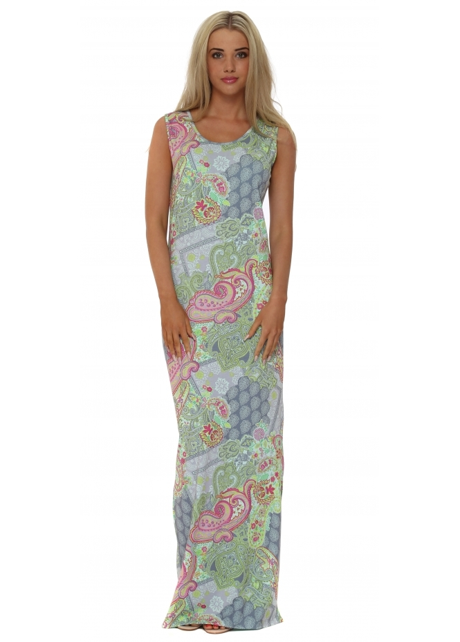 A Postcard From Brighton Izzy Ibiza Print Mojita Split Maxi Dress