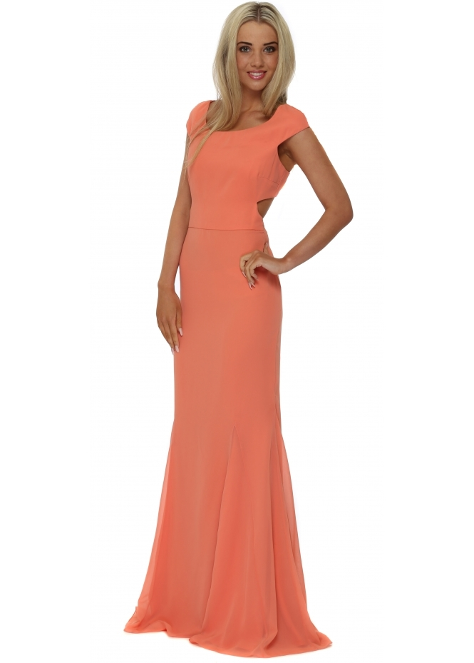 Virgos Lounge Coral Cross Back Mermaid Maxi Dress