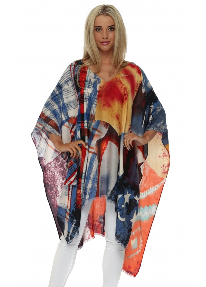 JayLey Colourful Cashmere Patchwork Print Poncho