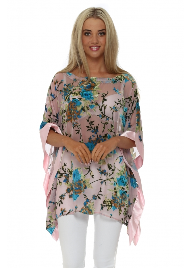 JayLey Baby Pink Silk Devore Kaftan Top