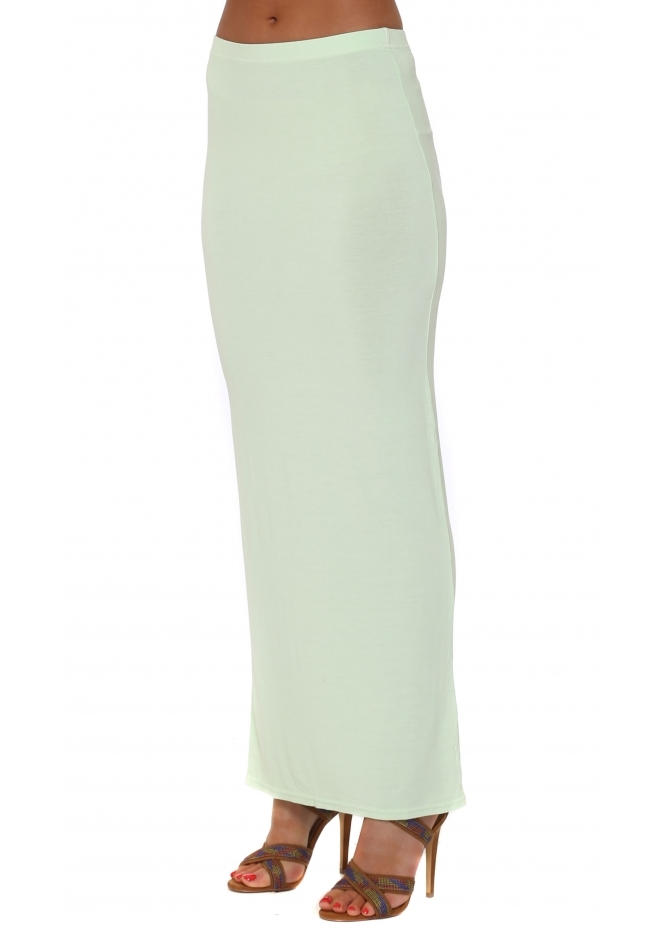 A Postcard From Brighton Limone Green Plain Column Maxi Skirt