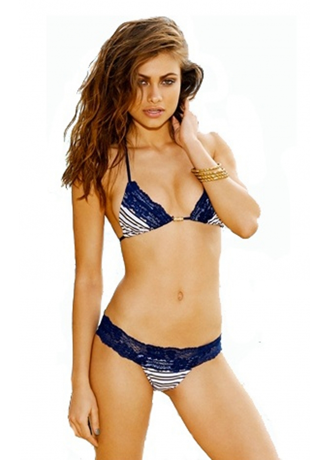 Beach Bunny First Mate Bikini With Gold Stripe & Navy Lace