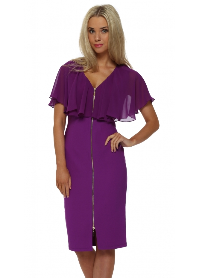 Genese Florentina Purple Cape Pencil Dress