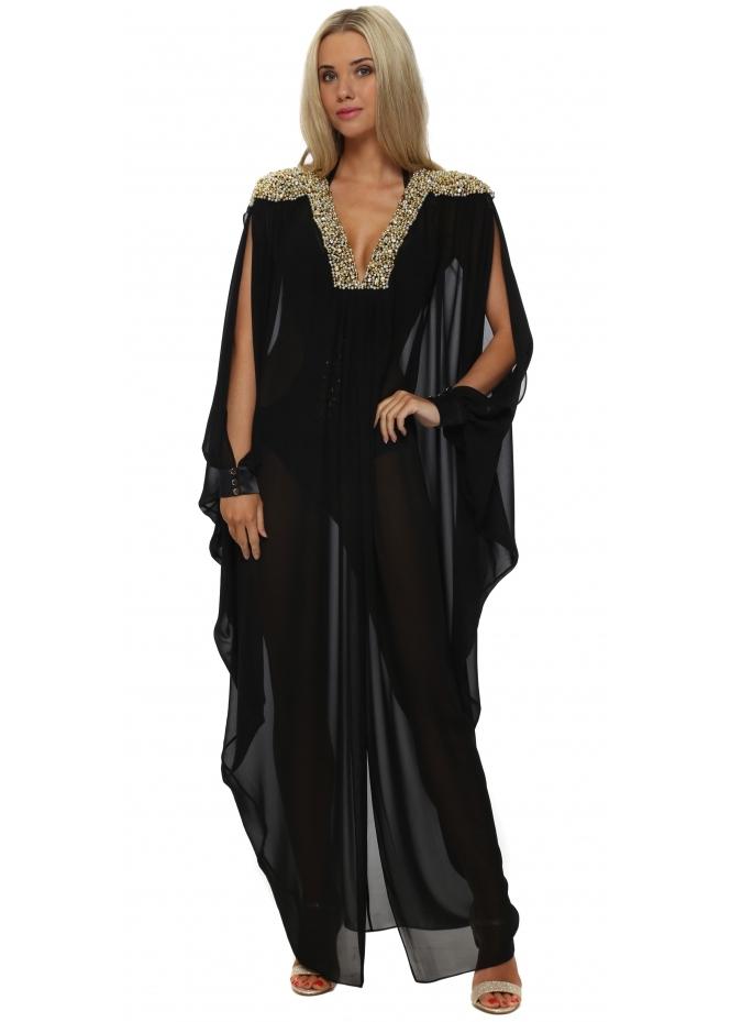 Genese Embellished Black Chiffon Maxi Kaftan
