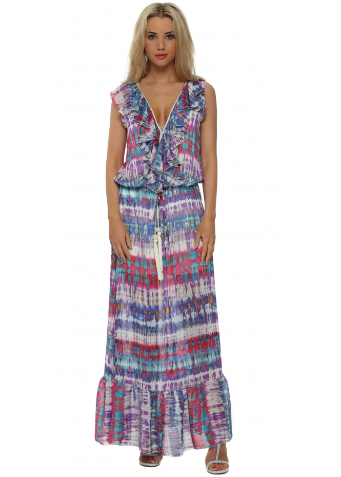 My Story Blue & Pink Print Sleeveless Tassel Maxi Dress