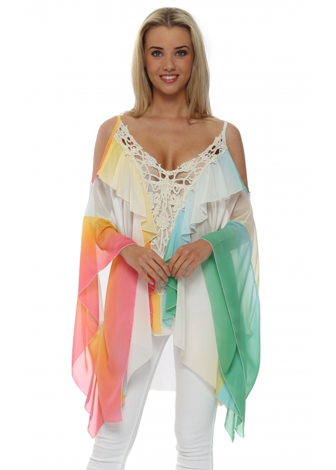 My Story Rainbow Chiffon Cold Shoulder Top