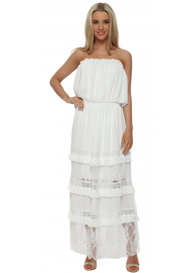 My Story White Tiered Lace Bandeau Maxi Dress