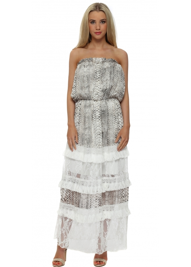 My Story Grey Snake Tiered Lace Bandeau Maxi Dress