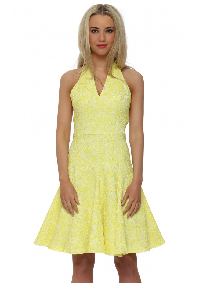 Eden Row Bray Yellow Lace Halter Neck Dress