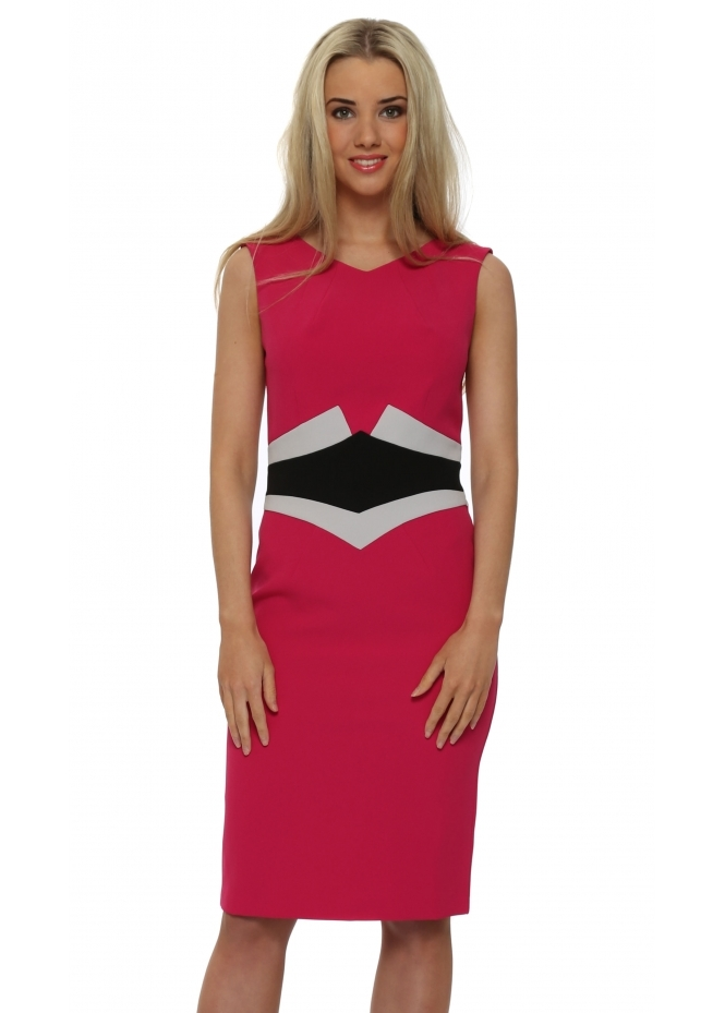 Eden Row Hamilton Cerise Pencil Dress