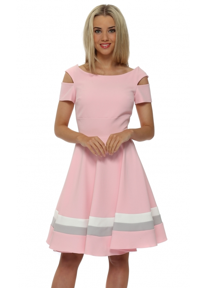 Eden Row Anderson Pink Cut Out Skater Dress