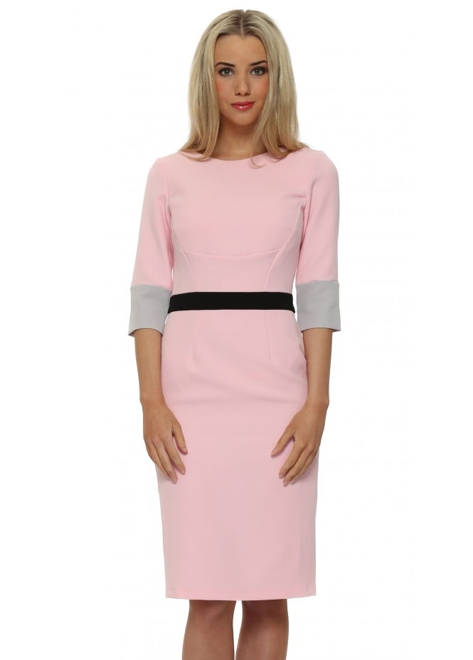 Eden Row Summerhill Pink 3/4 Sleeve Pencil Dress
