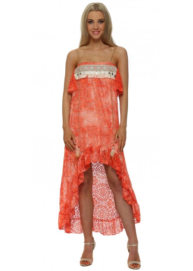 Legende By Angel Orange Lace Boho Bandeau Hi Low Dress