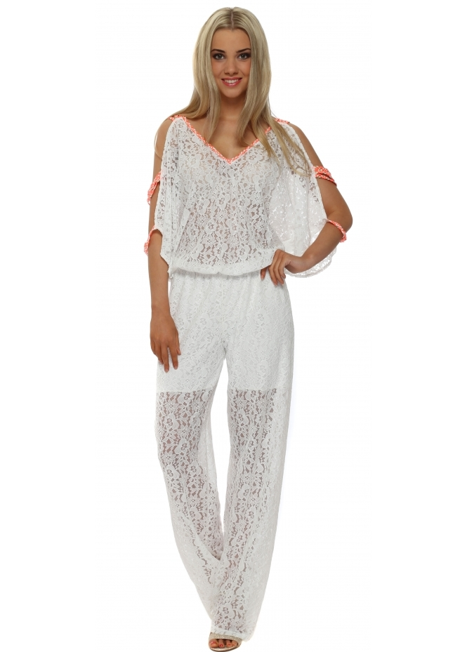 French Boutique White Lace Cold Shoulder Jumpsuit