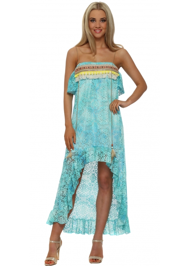 Legende By Angel Turquoise Lace Boho Bandeau Hi Low Dress