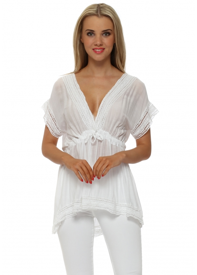 Sugar Babe White V Neck Silk Tunic Top
