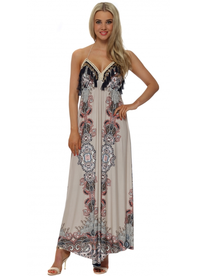 Laurie & Joe Blush Paisley Print Halterneck Maxi Dress
