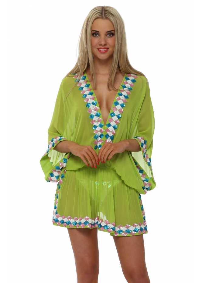 Lindsey Brown Sequinned Neon Lime Silk Manhattan Kaftan