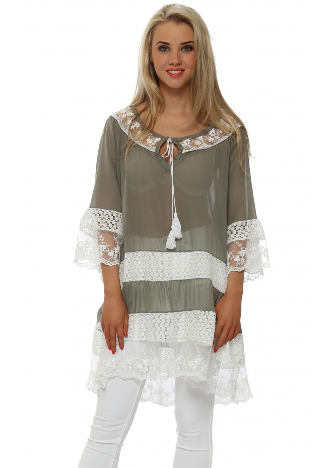 Monton Green Tiered Lace Cotton Tunic Top