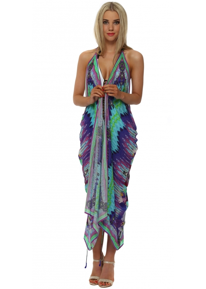 Shahida Parides Sarina Blue Silk Crepe Beach Cover Up