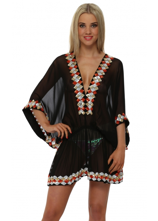 Lindsey Brown Black Sequinned Silk Manhattan Kaftan