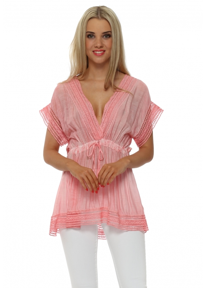 Sugar Babe Coral Silk V Neck Silk Tunic Top
