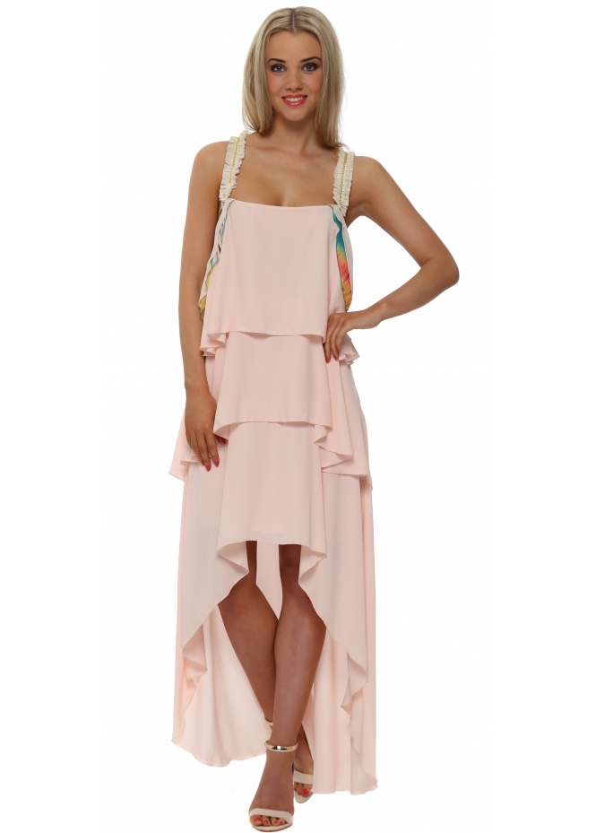 Legende By Angel Blush Pink Tiered Hi Low Dress