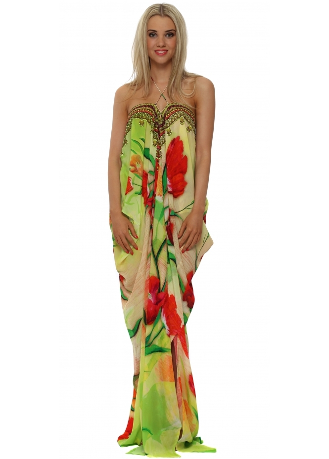 Shahida Parides Tulip Red Silk Maxi Kaftan Dress