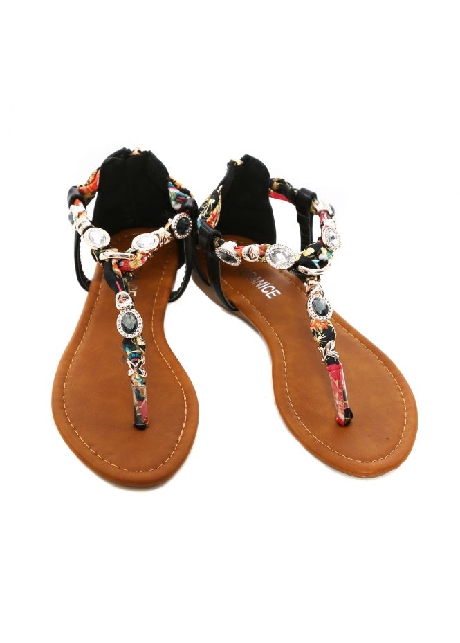 French Boutique Black Jewelled Satin Toe Post Sandals