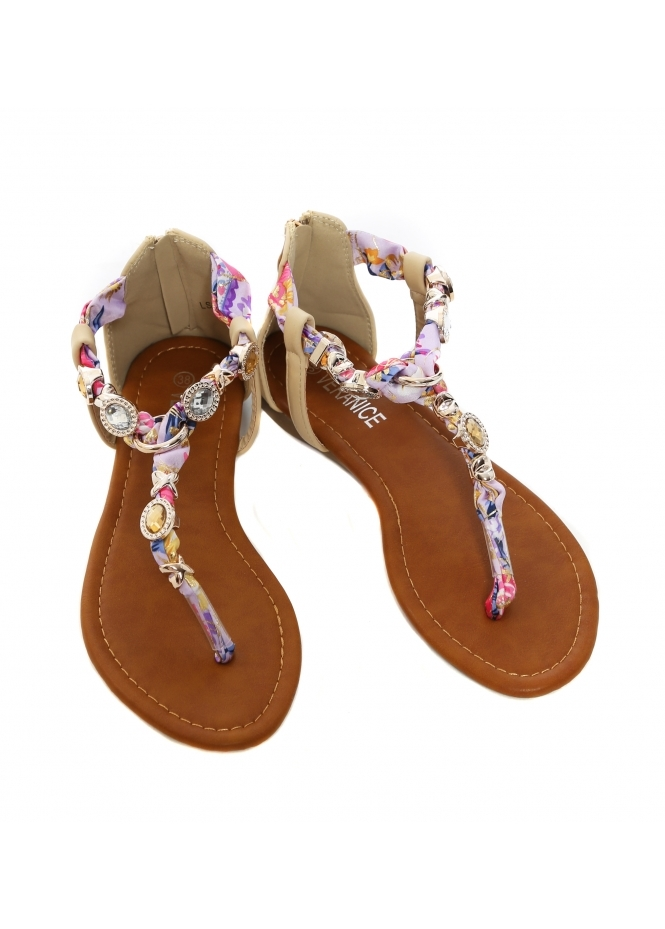 French Boutique Beige Jewelled Satin Toe Post Sandals