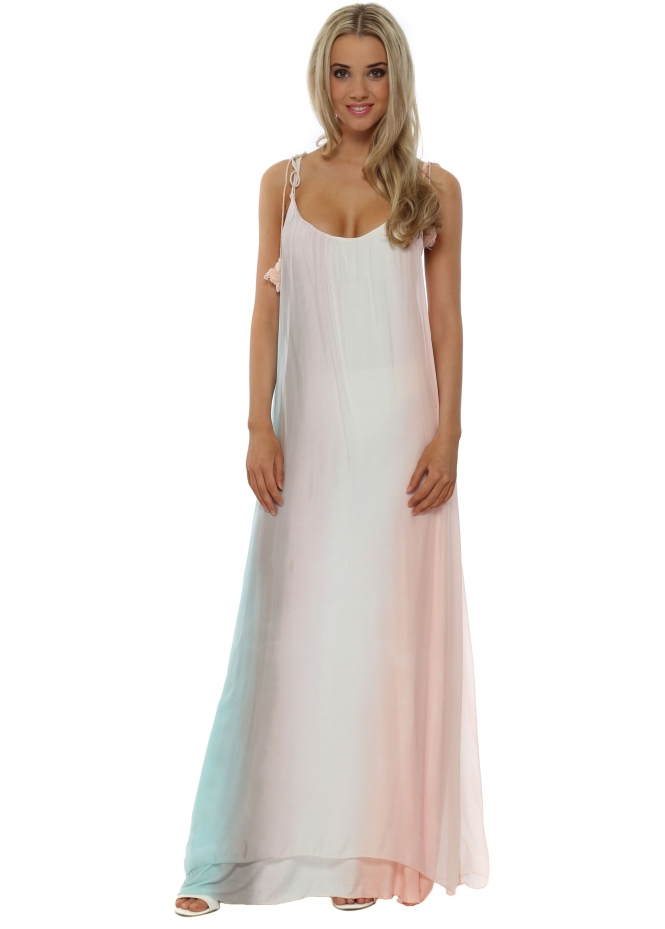 J&L Paris Pastel Ombre Rainbow Silk Maxi Dress