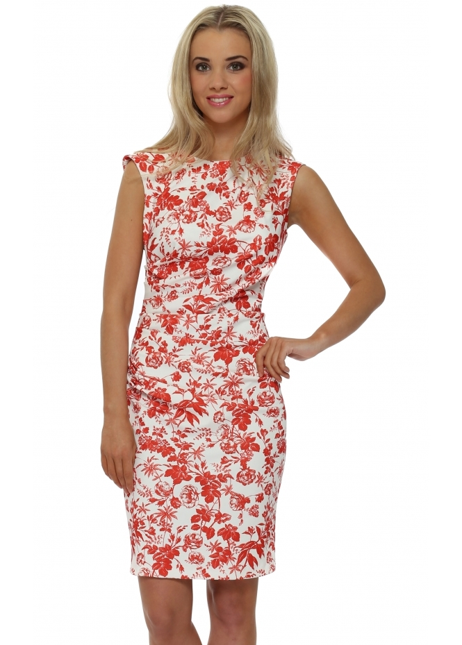 Rinascimento Red Floral Print Pencil Dress