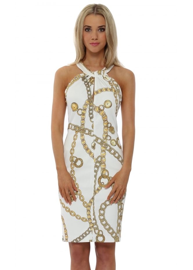 Rinascimento White Gold Chain Print Halterneck Dress