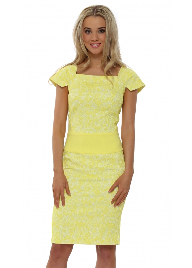 Eden Row Navan Lace Pencil Dress In Yellow