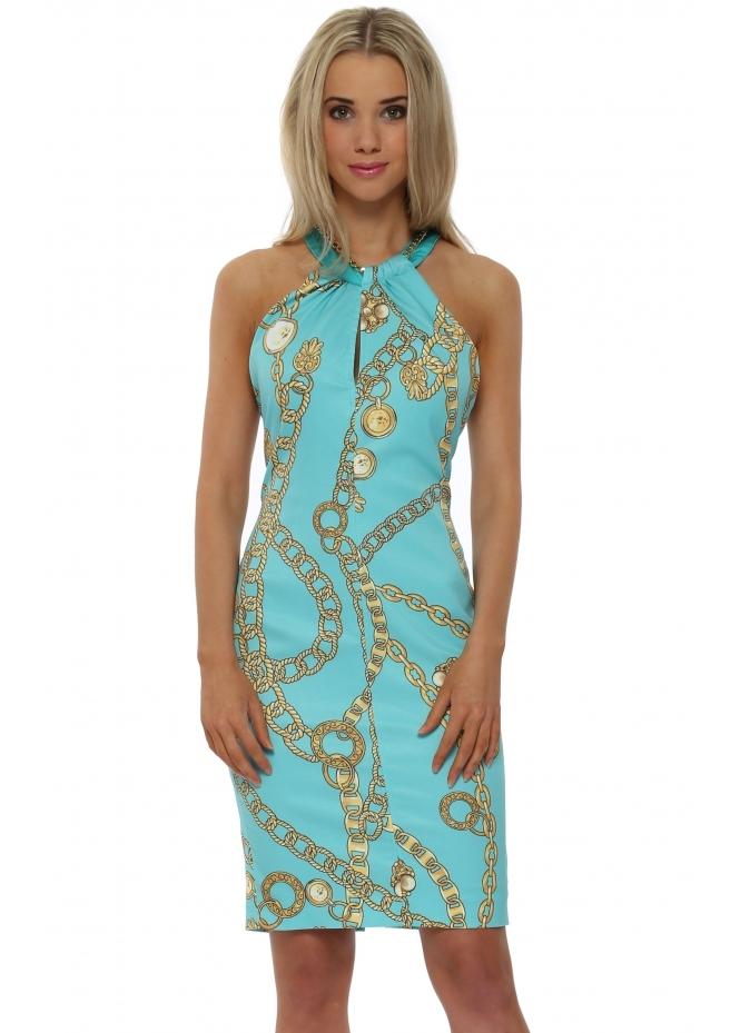 Rinascimento Aqua Gold Chain Print Halterneck Dress
