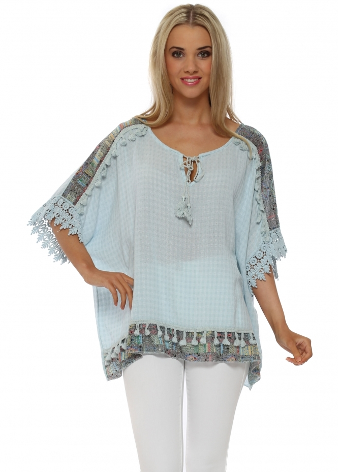Pinka Blue Slub Linen Sequinned Tassle Sequin Top