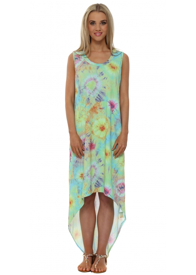 A Postcard From Brighton Britt Aqua Boho Tie Dye Maxi Tunic Dress