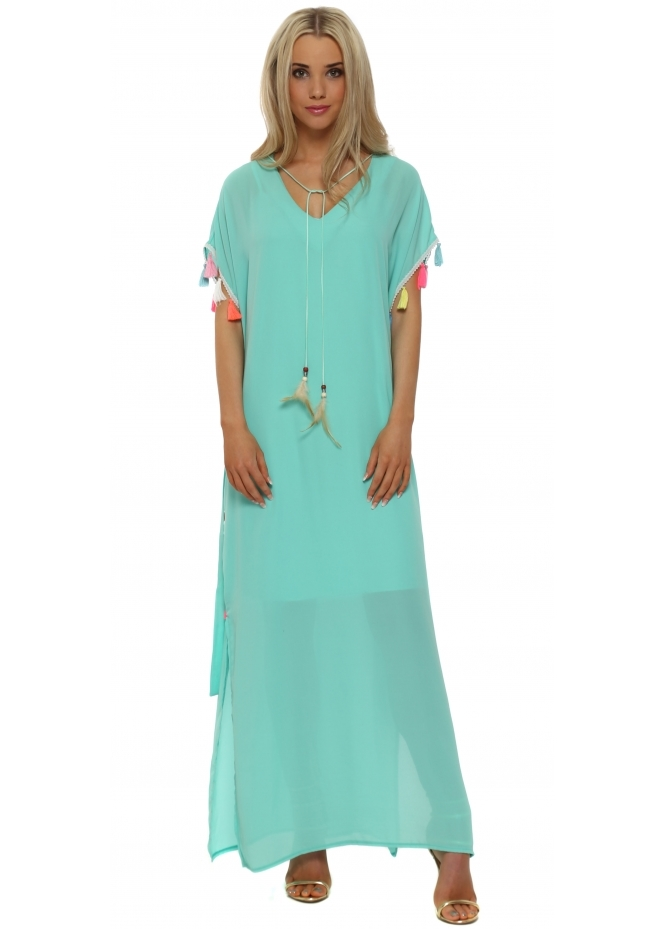 Just M Paris Turquoise Tassle Maxi Kaftan Dress