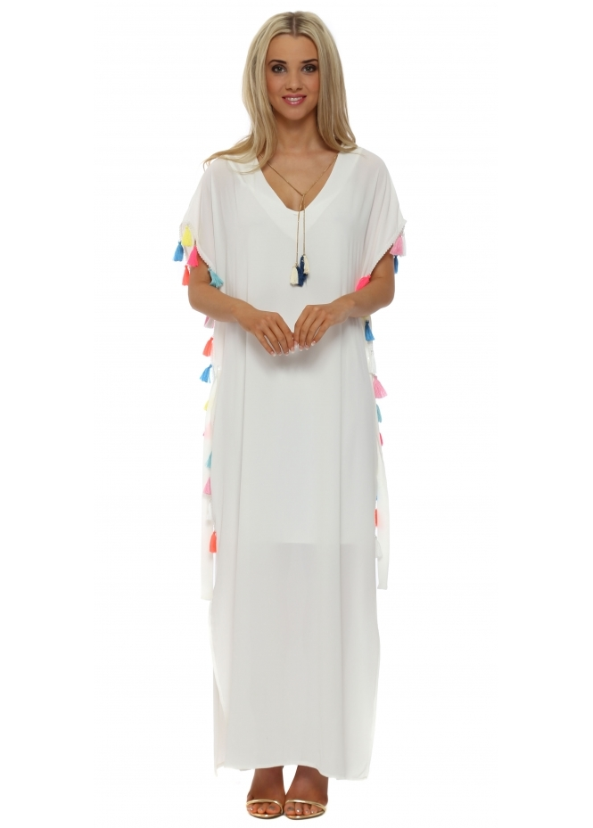 Just M Paris White Tassle Maxi Kaftan Dress