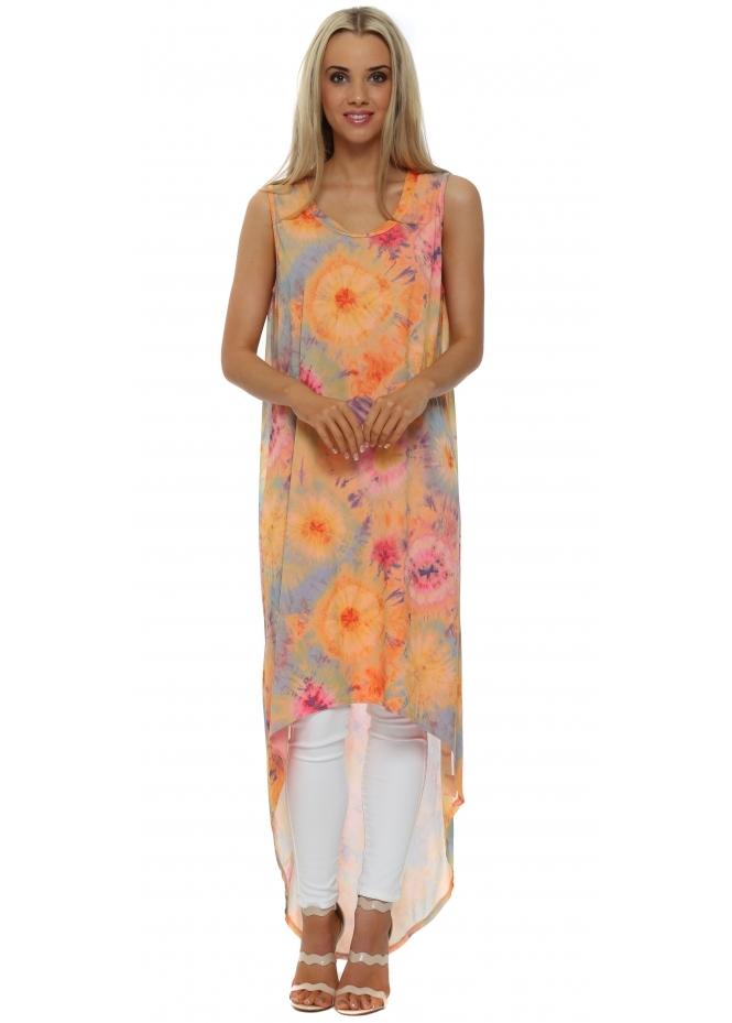 A Postcard From Brighton Britt Coral Boho Tie Dye Maxi Dress Top