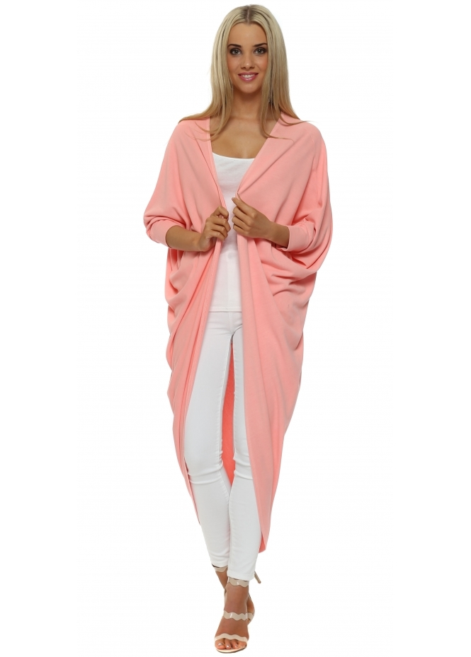 A Postcard From Brighton Tanya Maxi Drape Cocoon Coral Cardigan