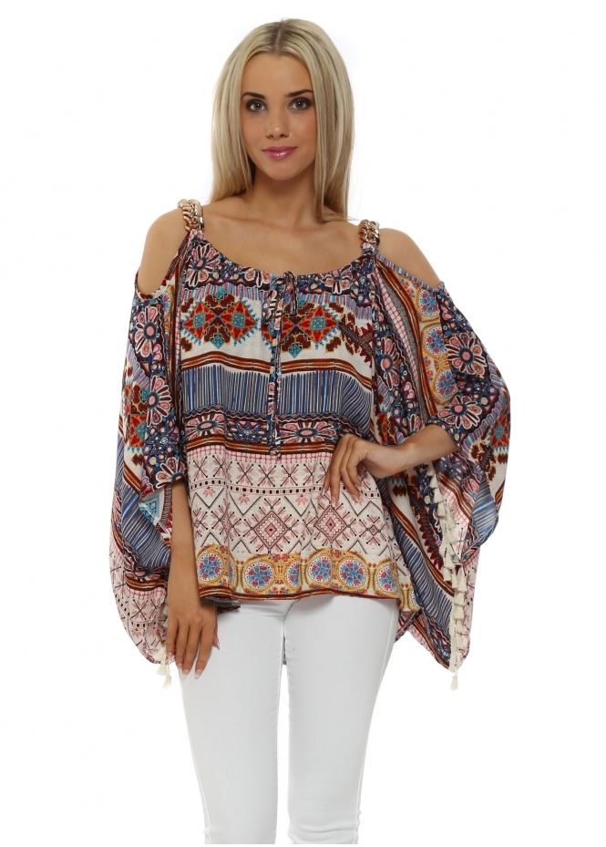 My Story Aztec Chunky Gold Chain Cold Shoulder Top