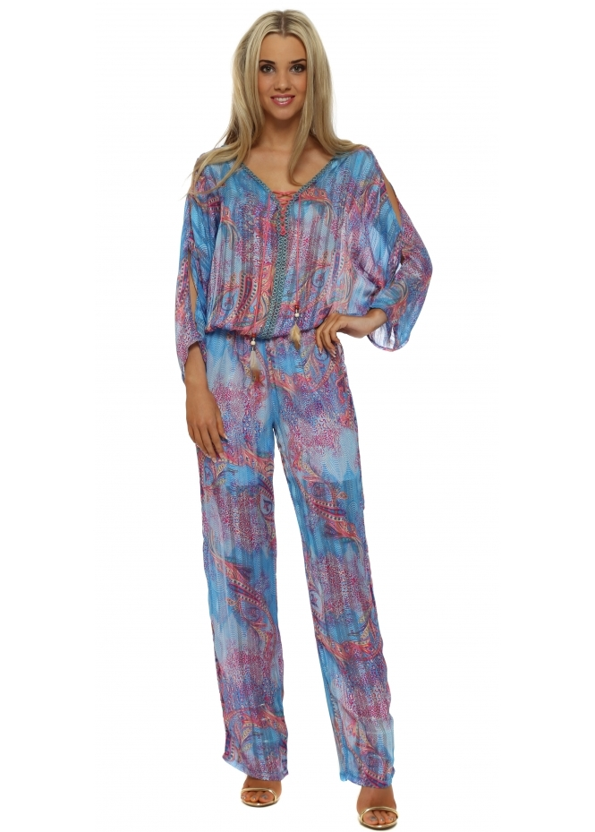 Just M Paris Blue Paisley Cold Shoulder Jumpsuit