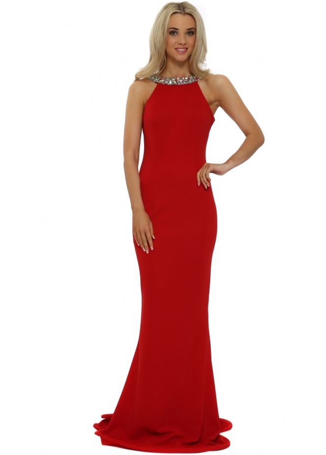 Pia Michi Low Scoop Back Crystal Red Evening Dress
