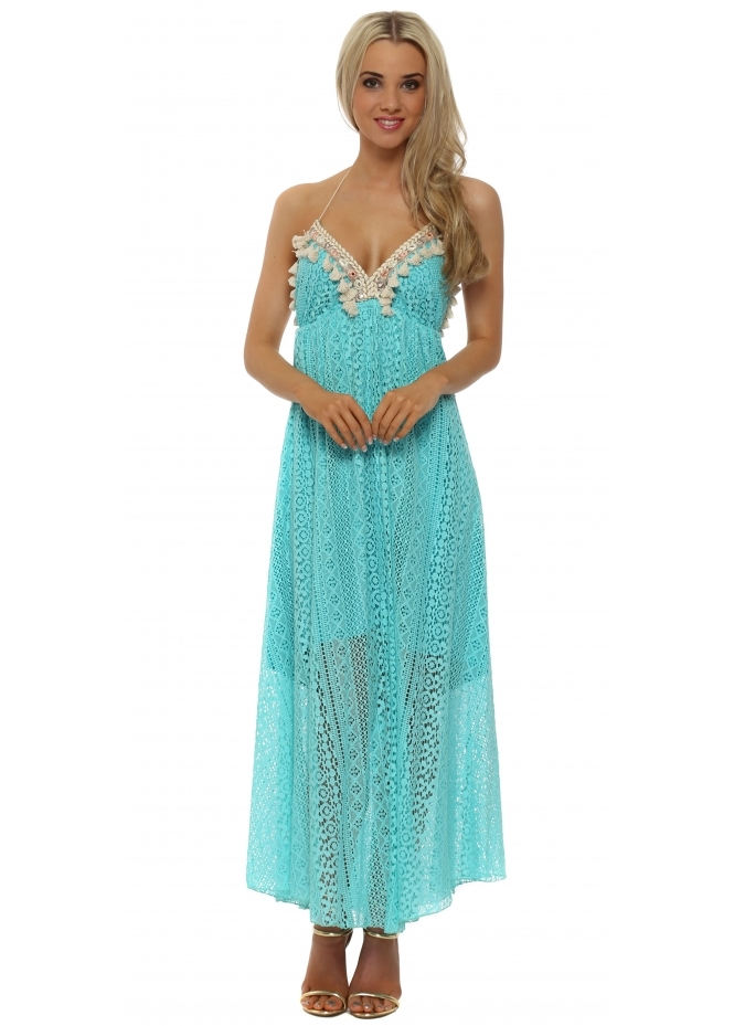 Laurie & Joe Turquoise Gold Braid Halterneck Maxi Dress
