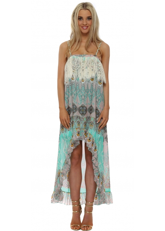 Just M Paris Aqua Chiffon Paisley Hi Lo Dress