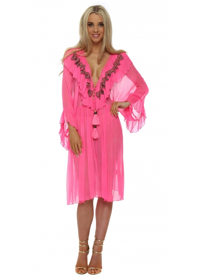 Laurie & Joe Candy Pink Ruffled Jewelled Kaftan Dress