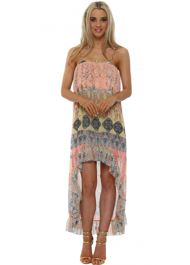 Just M Paris Pink Chiffon Paisley Hi Lo Dress