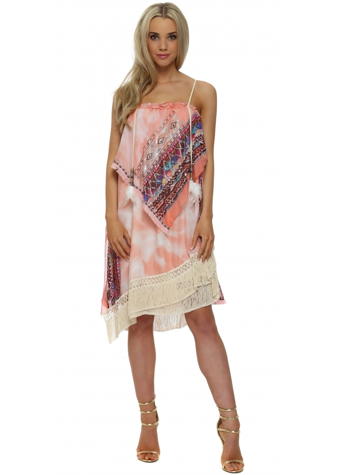 Legende By Angel Pink Aztec Diamonte Layered Tunic Dress