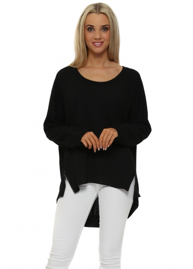 A Postcard From Brighton Tiff Black Zip Dip Hem Sweater